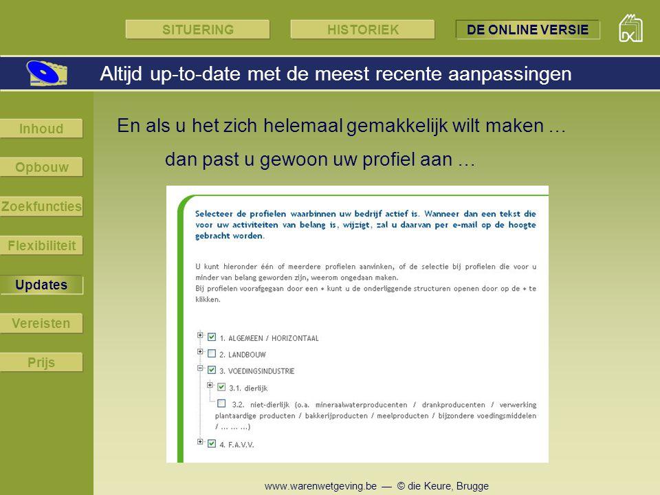 www.warenwetgeving.be — © die Keure, Brugge En als u het zich helemaal gemakkelijk wilt maken … Altijd up-to-date met de meest recente aanpassingen SI