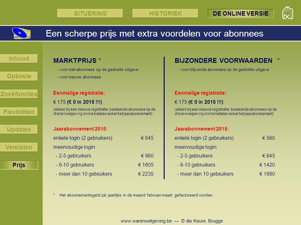 www.warenwetgeving.be — © die Keure, Brugge Een scherpe prijs met extra voordelen voor abonnees Prijs Zoekfuncties Flexibiliteit Updates Vereisten Inh