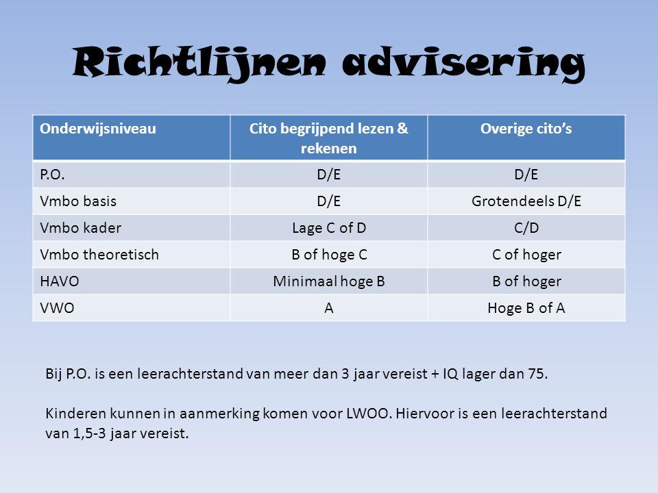 Richtlijnen advisering OnderwijsniveauCito begrijpend lezen & rekenen Overige cito's P.O.D/E Vmbo basisD/EGrotendeels D/E Vmbo kaderLage C of DC/D Vmb