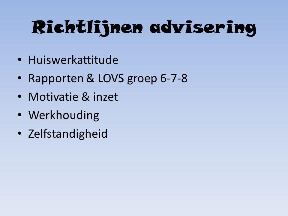 Richtlijnen advisering Huiswerkattitude Rapporten & LOVS groep 6-7-8 Motivatie & inzet Werkhouding Zelfstandigheid