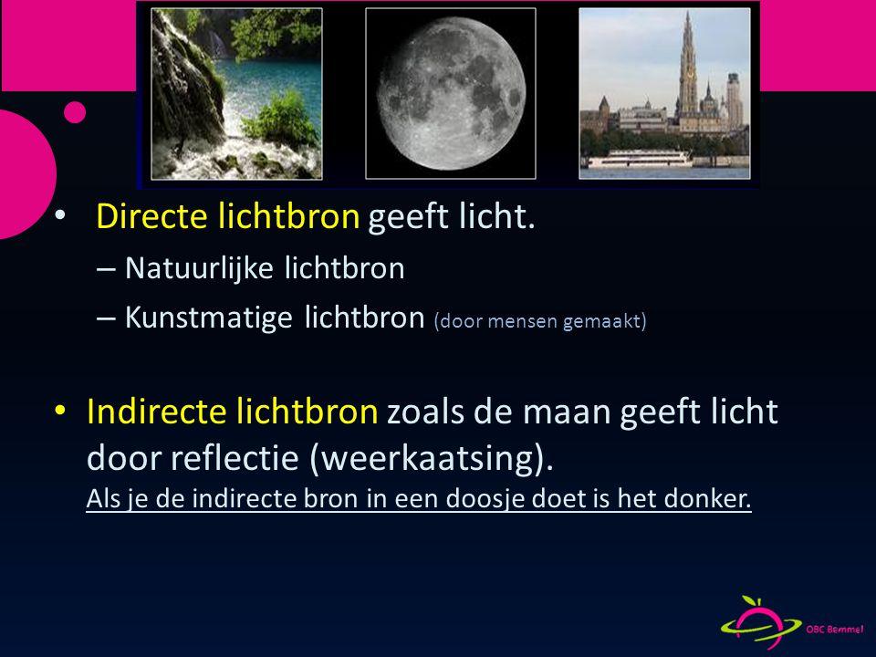 Lichtbronnen Directe lichtbron geeft licht. – Natuurlijke lichtbron – Kunstmatige lichtbron (door mensen gemaakt) Indirecte lichtbron zoals de maan ge