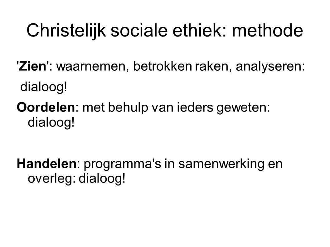 Christelijk sociale ethiek: methode Zien : waarnemen, betrokken raken, analyseren: dialoog.