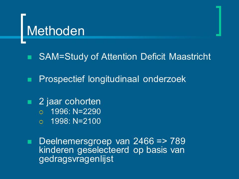 Methoden SAM=Study of Attention Deficit Maastricht Prospectief longitudinaal onderzoek 2 jaar cohorten  1996: N=2290  1998: N=2100 Deelnemersgroep van 2466 => 789 kinderen geselecteerd op basis van gedragsvragenlijst