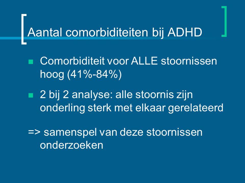 Aantal comorbiditeiten bij ADHD Comorbiditeit voor ALLE stoornissen hoog (41%-84%) 2 bij 2 analyse: alle stoornis zijn onderling sterk met elkaar gerelateerd => samenspel van deze stoornissen onderzoeken