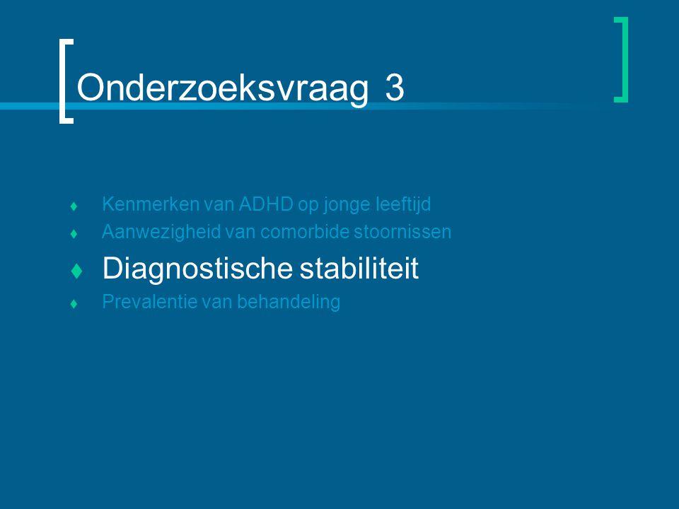 Onderzoeksvraag 3  Kenmerken van ADHD op jonge leeftijd  Aanwezigheid van comorbide stoornissen  Diagnostische stabiliteit  Prevalentie van behandeling