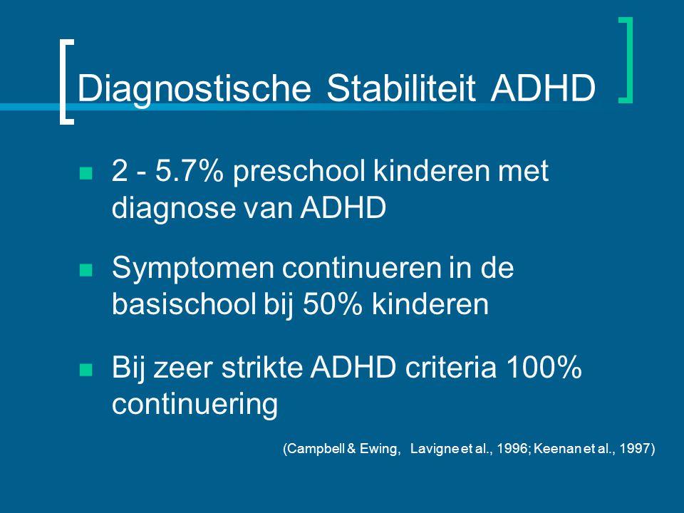 Diagnostische Stabiliteit ADHD 2 - 5.7% preschool kinderen met diagnose van ADHD Symptomen continueren in de basischool bij 50% kinderen Bij zeer strikte ADHD criteria 100% continuering (Campbell & Ewing, Lavigne et al., 1996; Keenan et al., 1997)