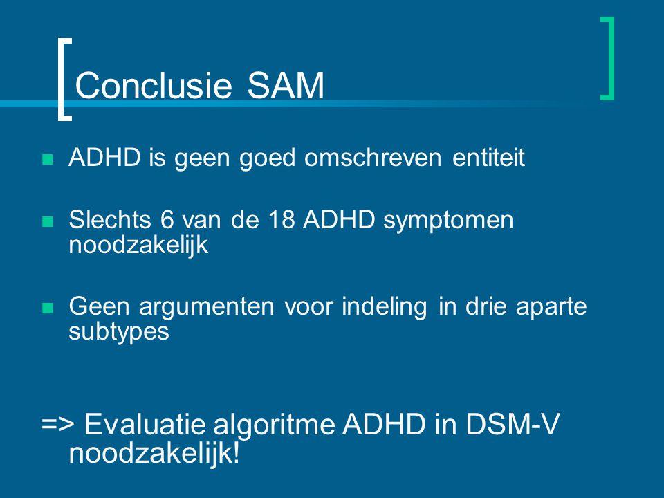 Conclusie SAM ADHD is geen goed omschreven entiteit Slechts 6 van de 18 ADHD symptomen noodzakelijk Geen argumenten voor indeling in drie aparte subtypes => Evaluatie algoritme ADHD in DSM-V noodzakelijk!