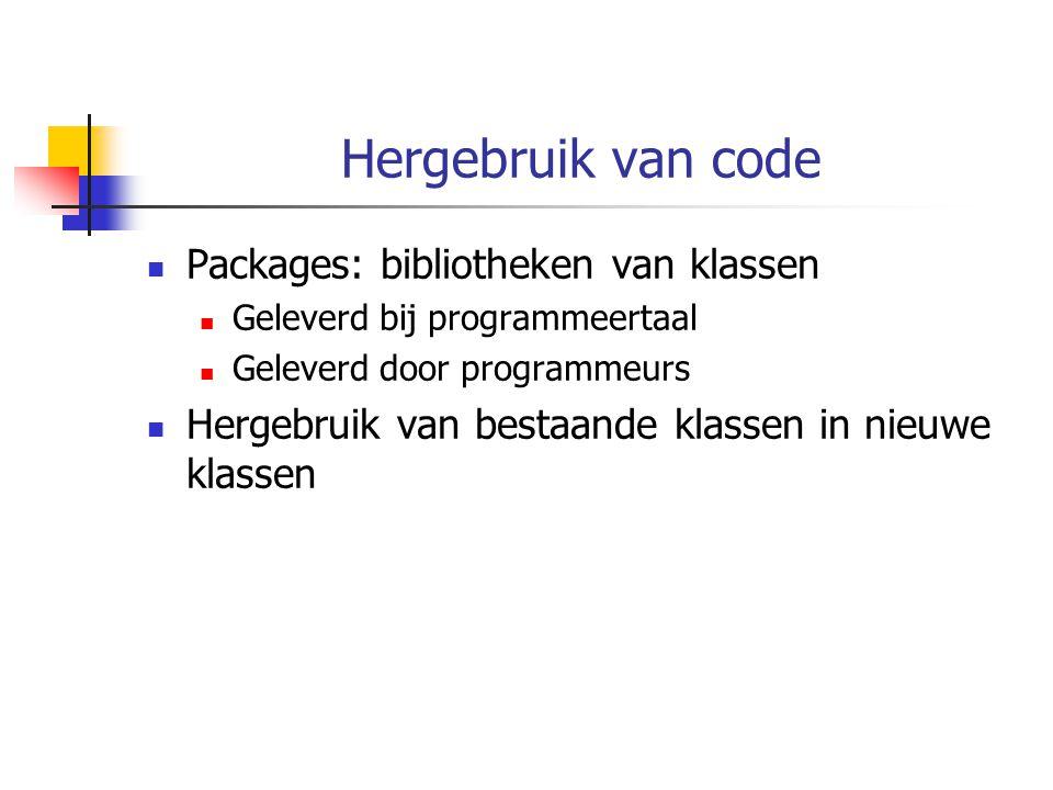 Hergebruik van code Packages: bibliotheken van klassen Geleverd bij programmeertaal Geleverd door programmeurs Hergebruik van bestaande klassen in nie