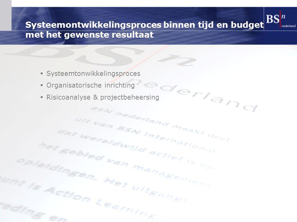 Systeemontwikkelingsproces binnen tijd en budget met het gewenste resultaat  Systeemtonwikkelingsproces  Organisatorische inrichting  Risicoanalyse