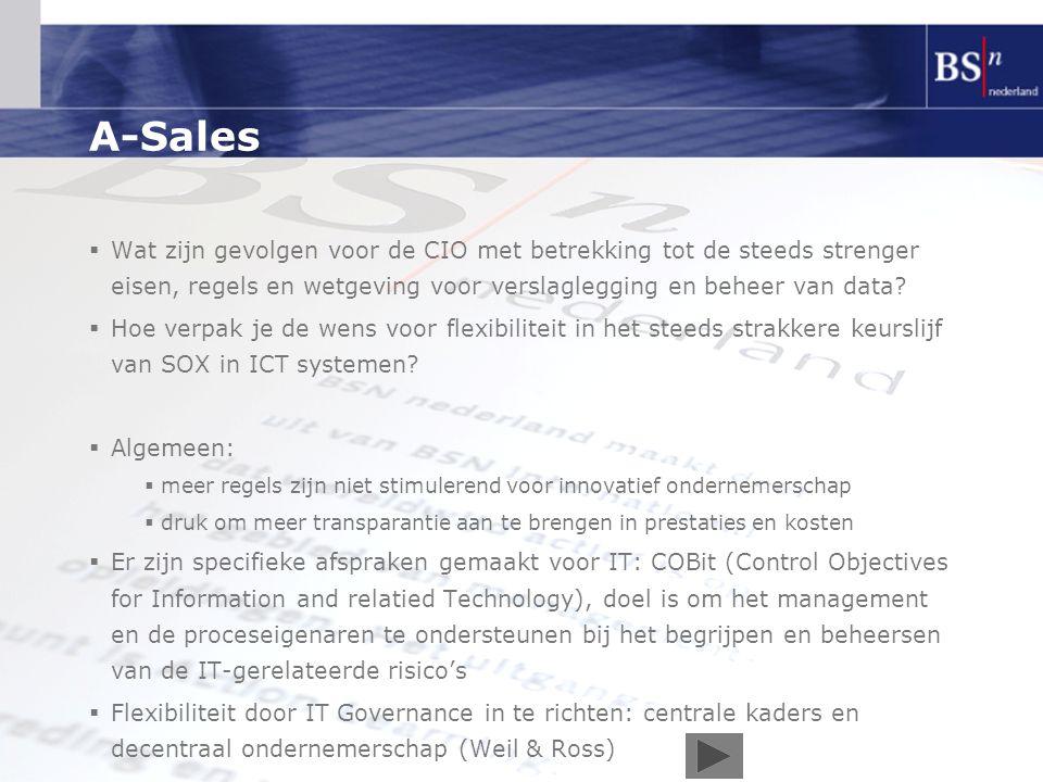 A-Sales  Wat zijn gevolgen voor de CIO met betrekking tot de steeds strenger eisen, regels en wetgeving voor verslaglegging en beheer van data?  Hoe