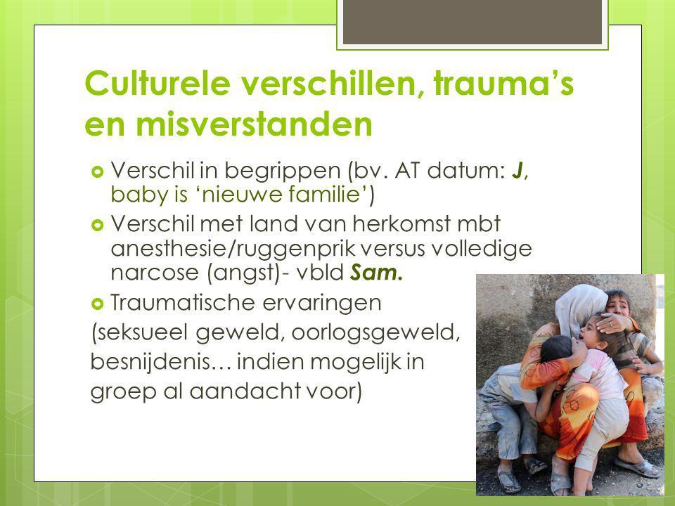 Culturele verschillen, trauma's en misverstanden  Verschil in begrippen (bv.
