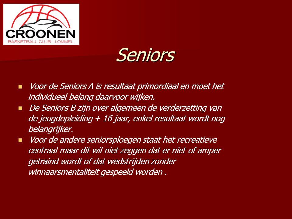 Seniors Voor de Seniors A is resultaat primordiaal en moet het individueel belang daarvoor wijken. De Seniors B zijn over algemeen de verderzetting va
