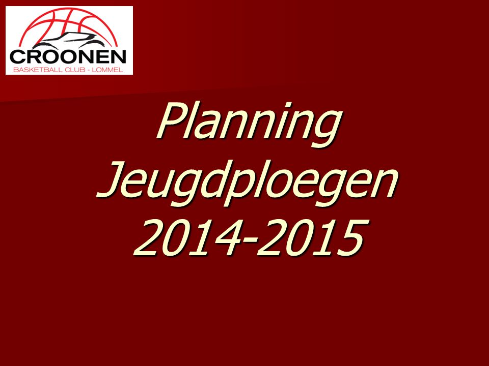 Planning Jeugdploegen 2014-2015