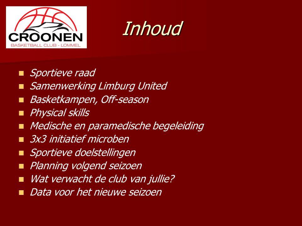 Inhoud Sportieve raad Samenwerking Limburg United Basketkampen, Off-season Physical skills Medische en paramedische begeleiding 3x3 initiatief microbe