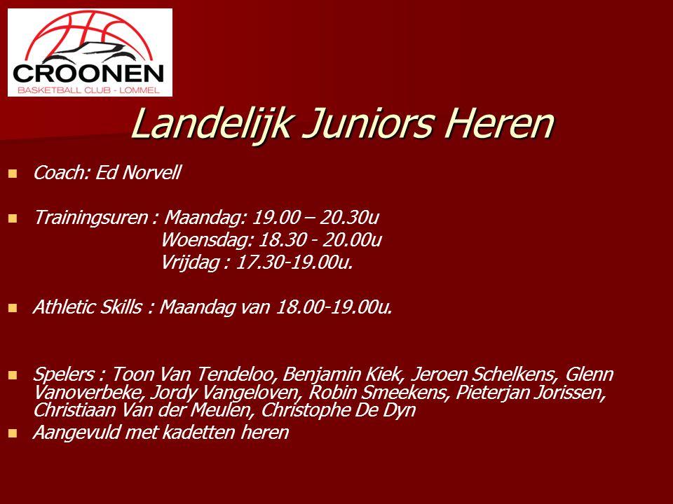 Landelijk Juniors Heren Coach: Ed Norvell Trainingsuren : Maandag: 19.00 – 20.30u Woensdag: 18.30 - 20.00u Vrijdag : 17.30-19.00u. Athletic Skills : M