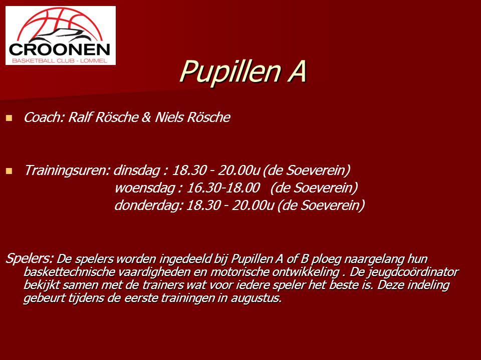Pupillen A Coach: Ralf Rösche & Niels Rösche Trainingsuren: dinsdag : 18.30 - 20.00u (de Soeverein) woensdag : 16.30-18.00 (de Soeverein) donderdag: 1