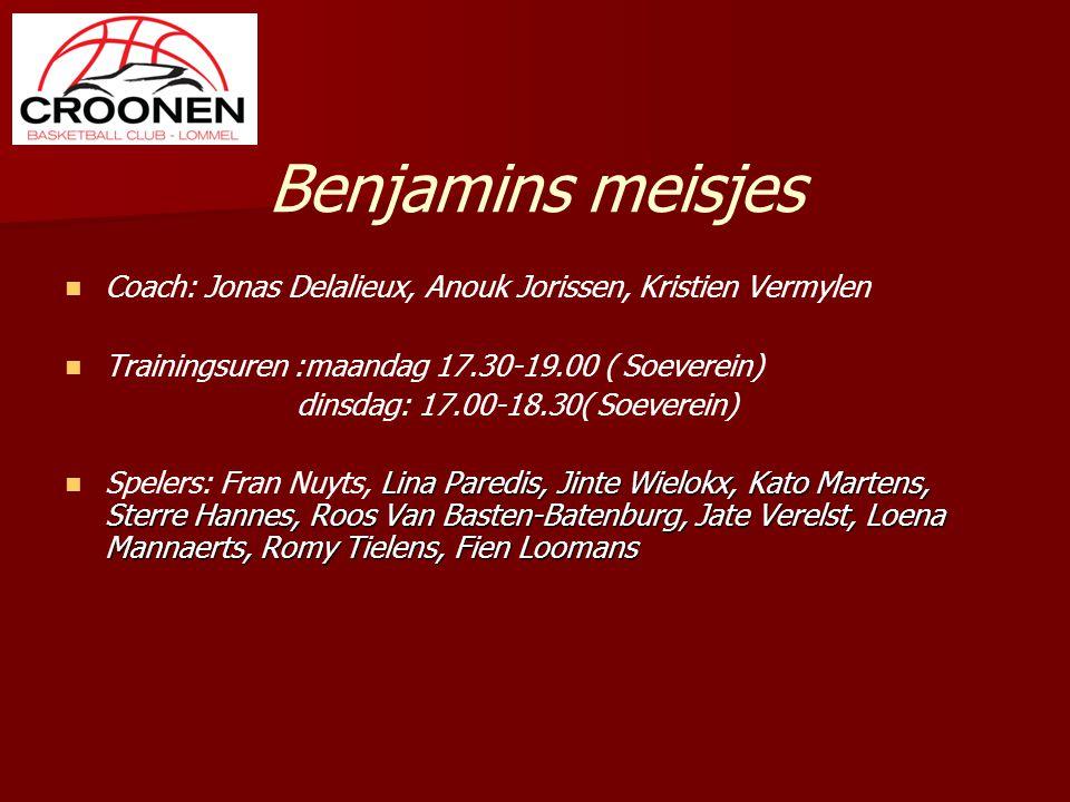 Benjamins meisjes Coach: Jonas Delalieux, Anouk Jorissen, Kristien Vermylen Trainingsuren :maandag 17.30-19.00 ( Soeverein) dinsdag: 17.00-18.30( Soev