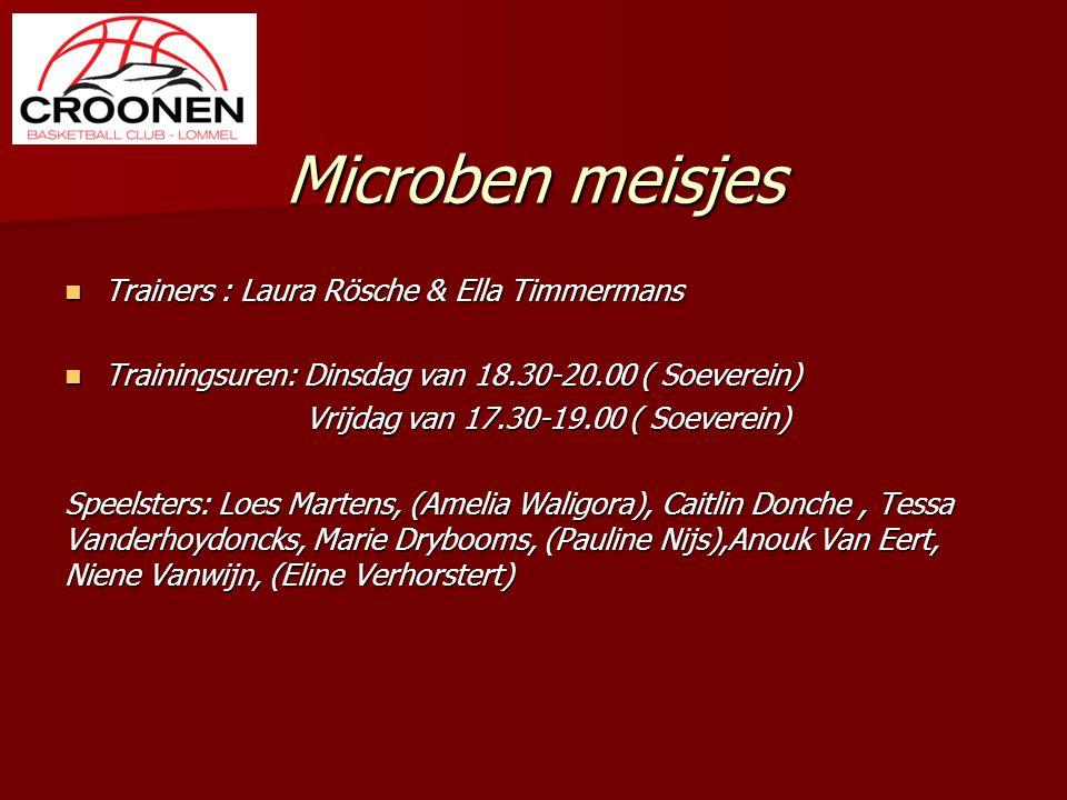 Microben meisjes Trainers : Laura Rösche & Ella Timmermans Trainers : Laura Rösche & Ella Timmermans Trainingsuren: Dinsdag van 18.30-20.00 ( Soeverei