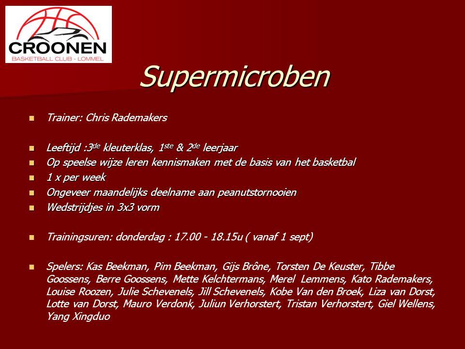 Supermicroben Trainer: Chris Rademakers Leeftijd :3 de kleuterklas, 1 ste & 2 de leerjaar Leeftijd :3 de kleuterklas, 1 ste & 2 de leerjaar Op speelse