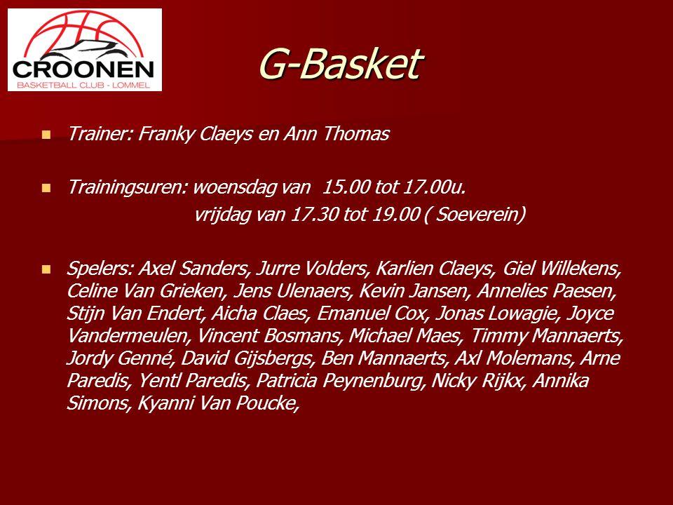 G-Basket Trainer: Franky Claeys en Ann Thomas Trainingsuren: woensdag van 15.00 tot 17.00u. vrijdag van 17.30 tot 19.00 ( Soeverein) Spelers: Axel San