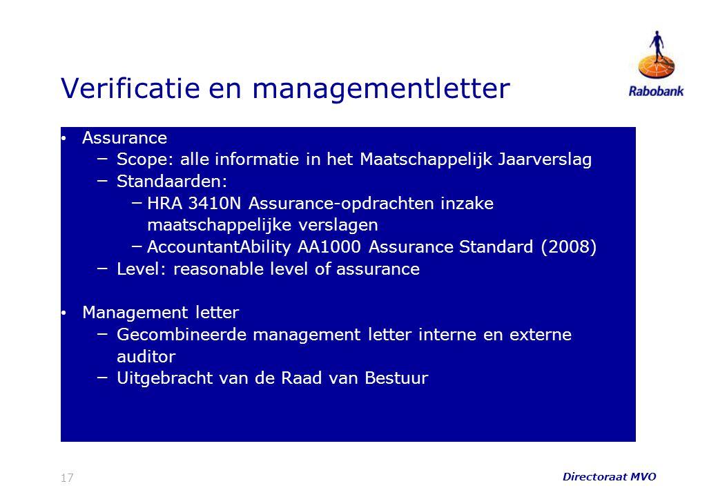 Verificatie en managementletter Assurance – Scope: alle informatie in het Maatschappelijk Jaarverslag – Standaarden: – HRA 3410N Assurance-opdrachten