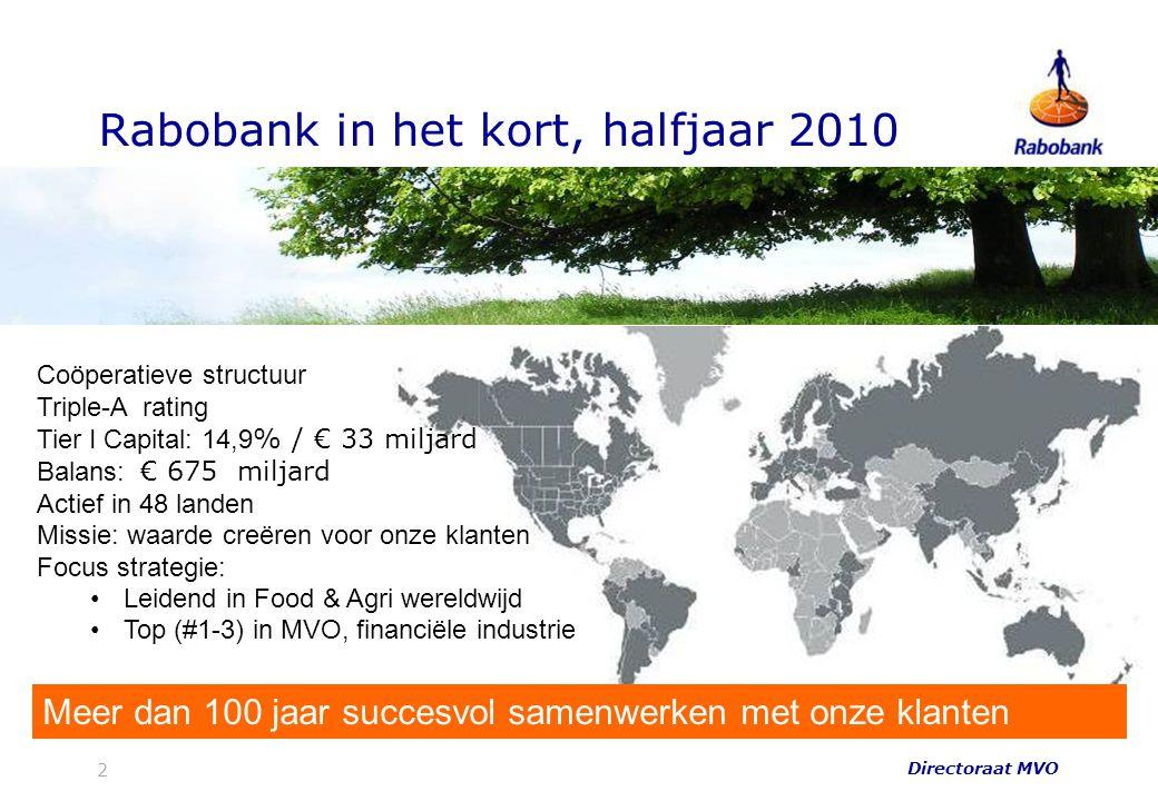 Rabobank in het kort, halfjaar 2010 Coöperatieve structuur Triple-A rating Tier I Capital: 14,9 % / € 33 miljard Balans: € 675 miljard Actief in 48 la