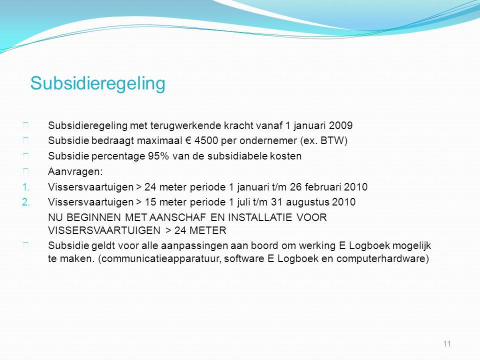 Subsidieregeling Subsidieregeling met terugwerkende kracht vanaf 1 januari 2009 Subsidie bedraagt maximaal € 4500 per ondernemer (ex.