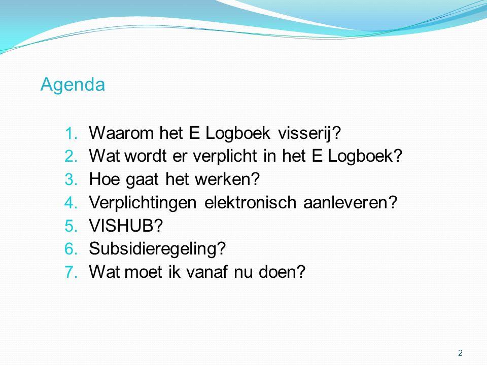 Agenda 1. Waarom het E Logboek visserij? 2. Wat wordt er verplicht in het E Logboek? 3. Hoe gaat het werken? 4. Verplichtingen elektronisch aanleveren