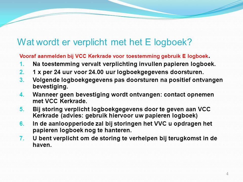 Wat wordt er verplicht met het E logboek? Vooraf aanmelden bij VCC Kerkrade voor toestemming gebruik E logboek. 1. Na toestemming vervalt verplichting