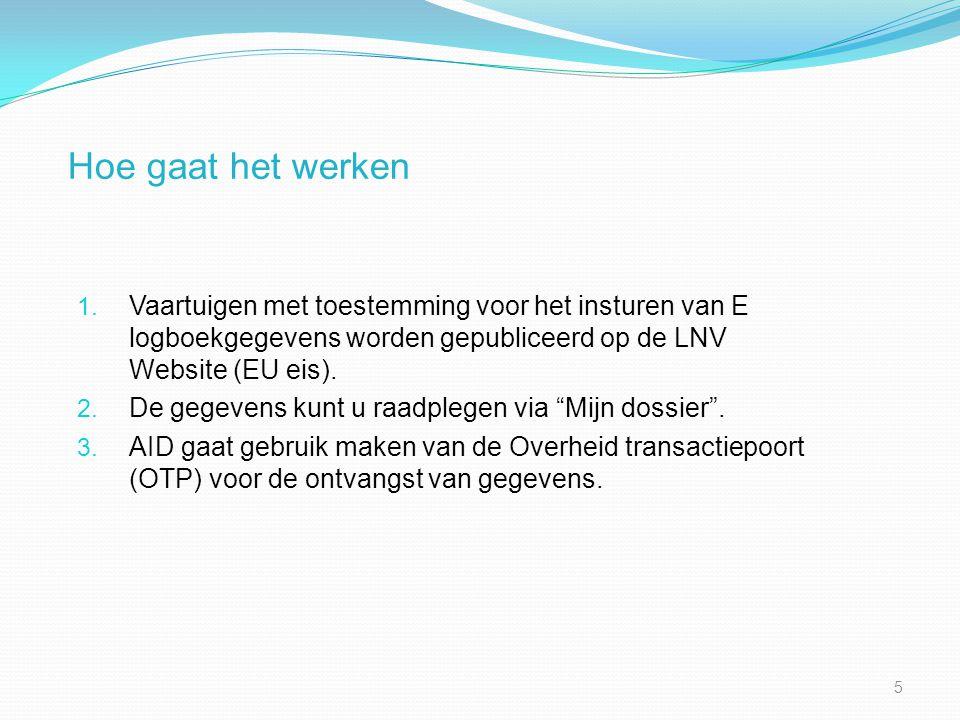 Hoe gaat het werken 1. Vaartuigen met toestemming voor het insturen van E logboekgegevens worden gepubliceerd op de LNV Website (EU eis). 2. De gegeve