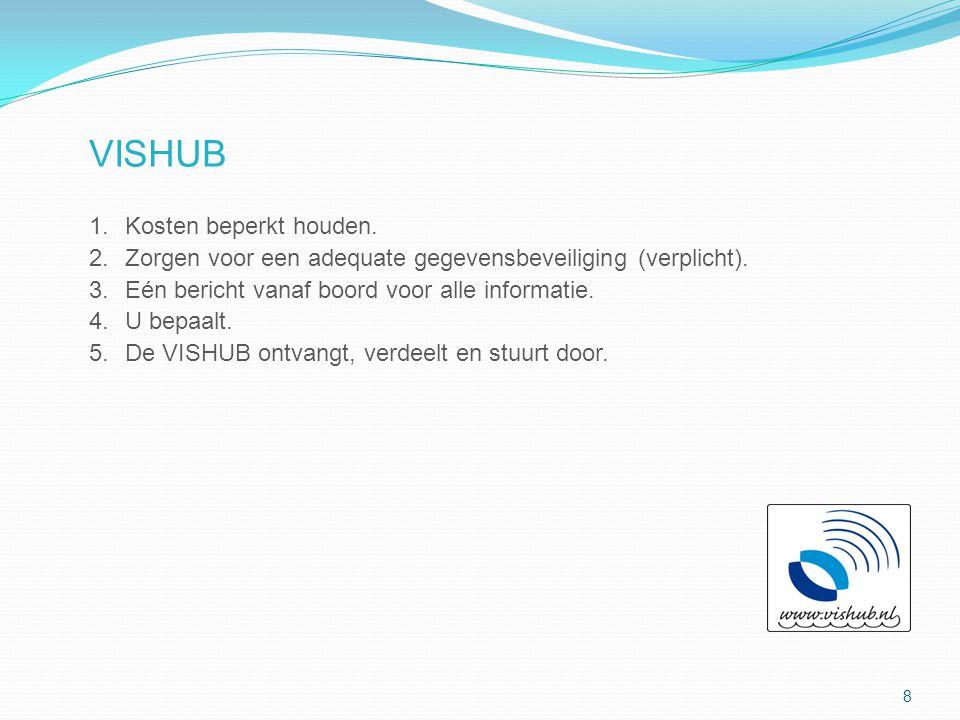VISHUB 1.Kosten beperkt houden. 2.Zorgen voor een adequate gegevensbeveiliging (verplicht). 3.Eén bericht vanaf boord voor alle informatie. 4.U bepaal
