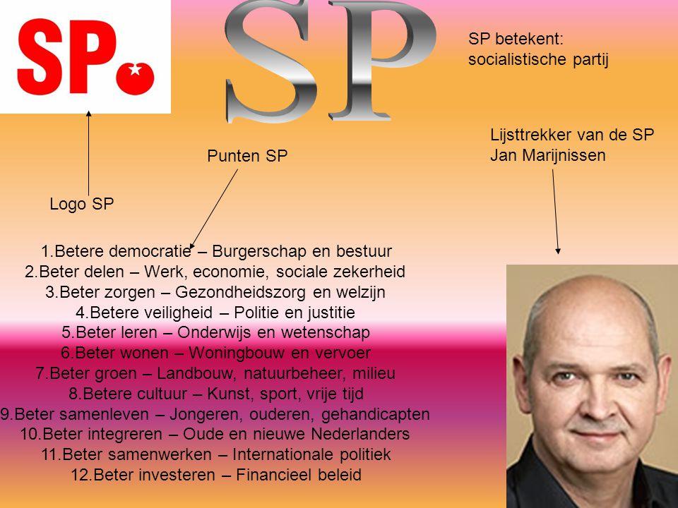 Logo SP SP betekent: socialistische partij Lijsttrekker van de SP Jan Marijnissen 1.Betere democratie – Burgerschap en bestuur 2.Beter delen – Werk, e