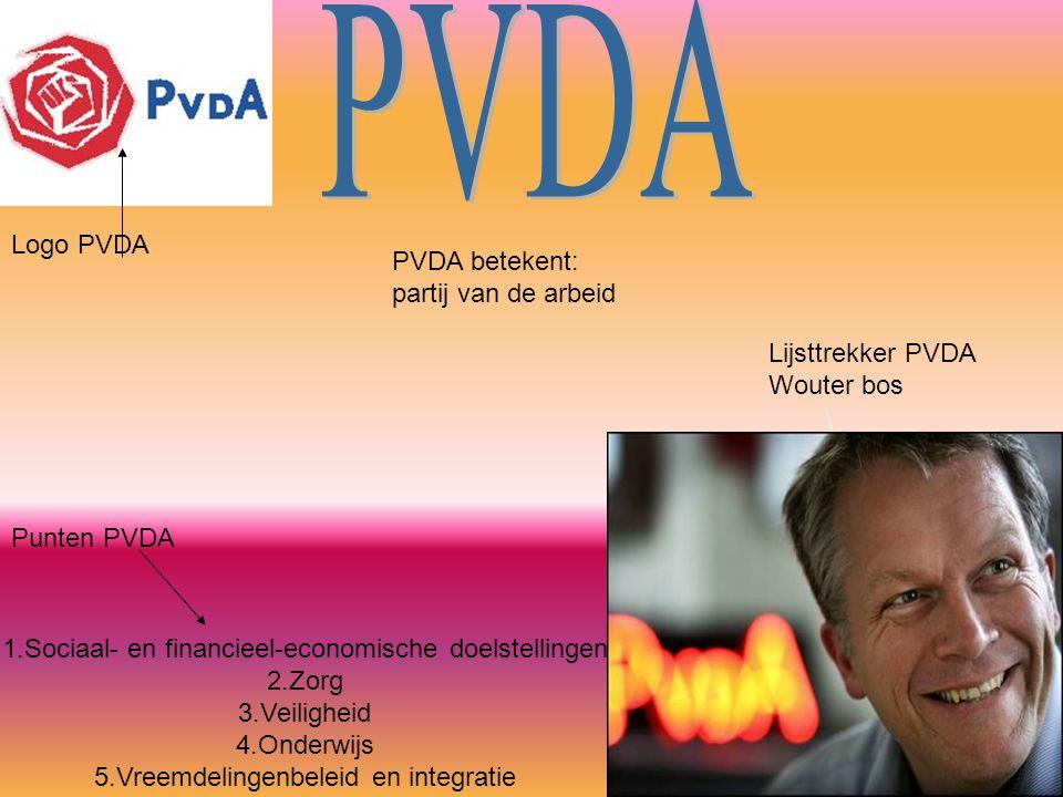 Logo PVDA Lijsttrekker PVDA Wouter bos 1.Sociaal- en financieel-economische doelstellingen 2.Zorg 3.Veiligheid 4.Onderwijs 5.Vreemdelingenbeleid en in