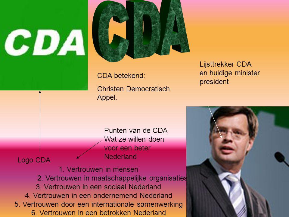 Logo CDA Lijsttrekker CDA en huidige minister president 1. Vertrouwen in mensen 2. Vertrouwen in maatschappelijke organisaties 3. Vertrouwen in een so