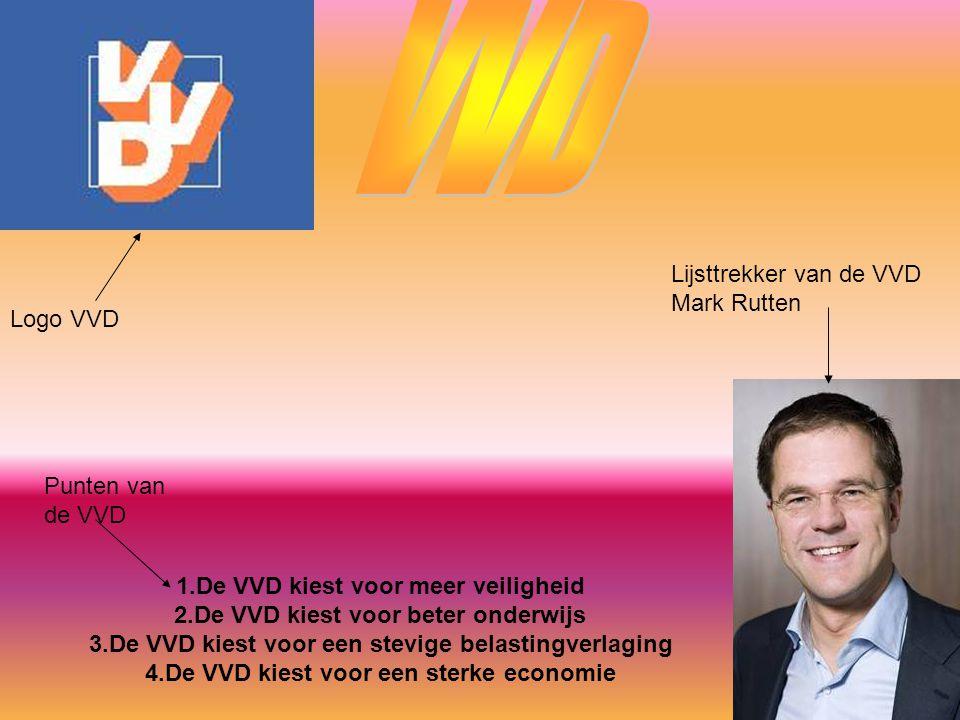 Logo VVD Lijsttrekker van de VVD Mark Rutten 1.De VVD kiest voor meer veiligheid 2.De VVD kiest voor beter onderwijs 3.De VVD kiest voor een stevige b