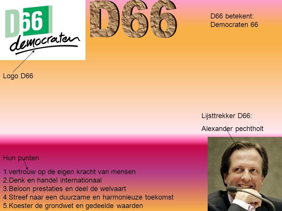 Logo D66 Lijsttrekker D66: Alexander pechtholt 1.vertrouw op de eigen kracht van mensen 2.Denk en handel internationaal 3.Beloon prestaties en deel de