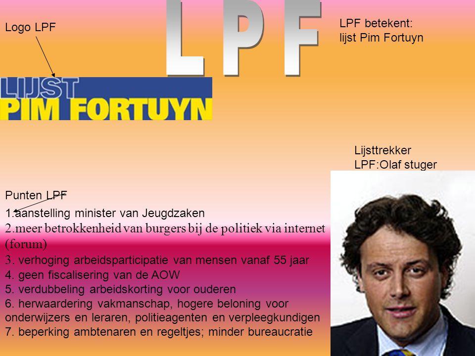 Logo LPF LPF betekent: lijst Pim Fortuyn Lijsttrekker LPF:Olaf stuger 1.aanstelling minister van Jeugdzaken 2.meer betrokkenheid van burgers bij de po