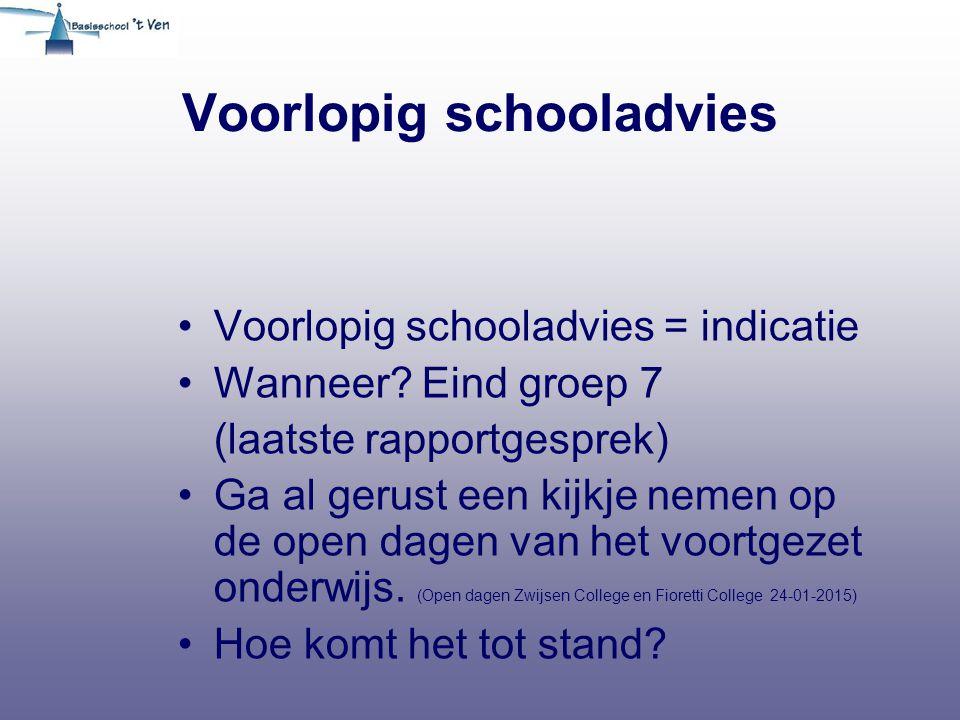 Voorlopig schooladvies Voorlopig schooladvies = indicatie Wanneer.