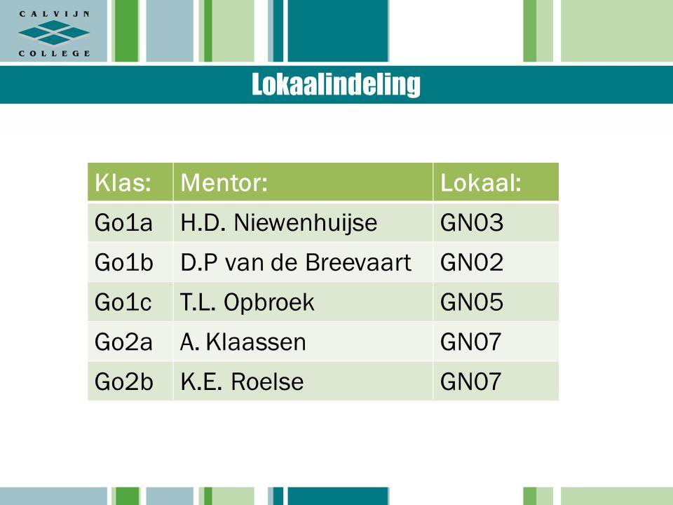 Lokaalindeling Klas:Mentor:Lokaal: Go1aH.D. NiewenhuijseGN03 Go1bD.P van de BreevaartGN02 Go1cT.L.