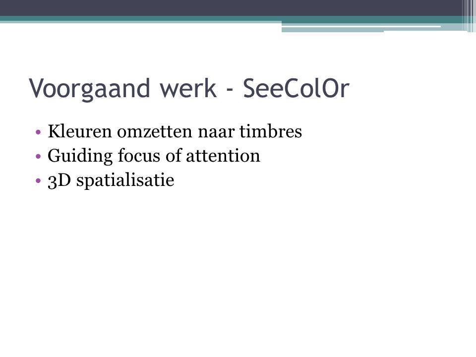 Voorgaand werk - SeeColOr Kleuren omzetten naar timbres Guiding focus of attention 3D spatialisatie