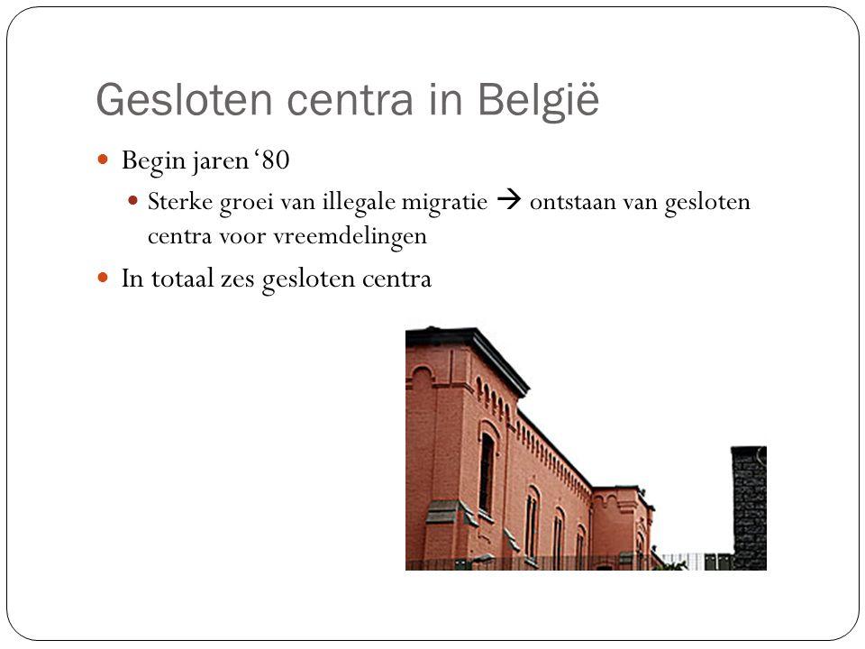 Gesloten centra in België Begin jaren '80 Sterke groei van illegale migratie  ontstaan van gesloten centra voor vreemdelingen In totaal zes gesloten centra