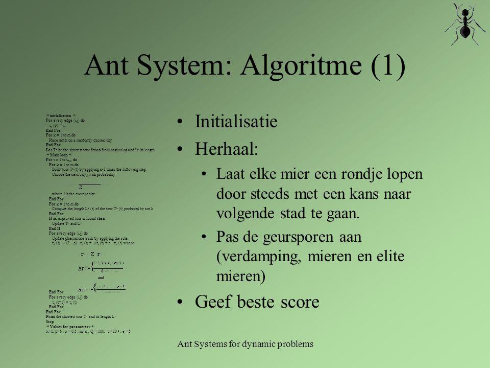 Ant System: Algoritme (1) Initialisatie Herhaal: Laat elke mier een rondje lopen door steeds met een kans naar volgende stad te gaan. Pas de geurspore