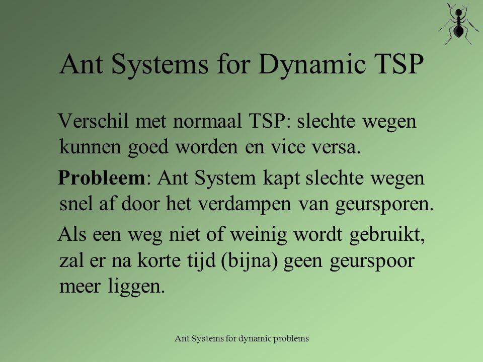 Ant Systems for dynamic problems Ant Systems for Dynamic TSP Verschil met normaal TSP: slechte wegen kunnen goed worden en vice versa. Probleem: Ant S