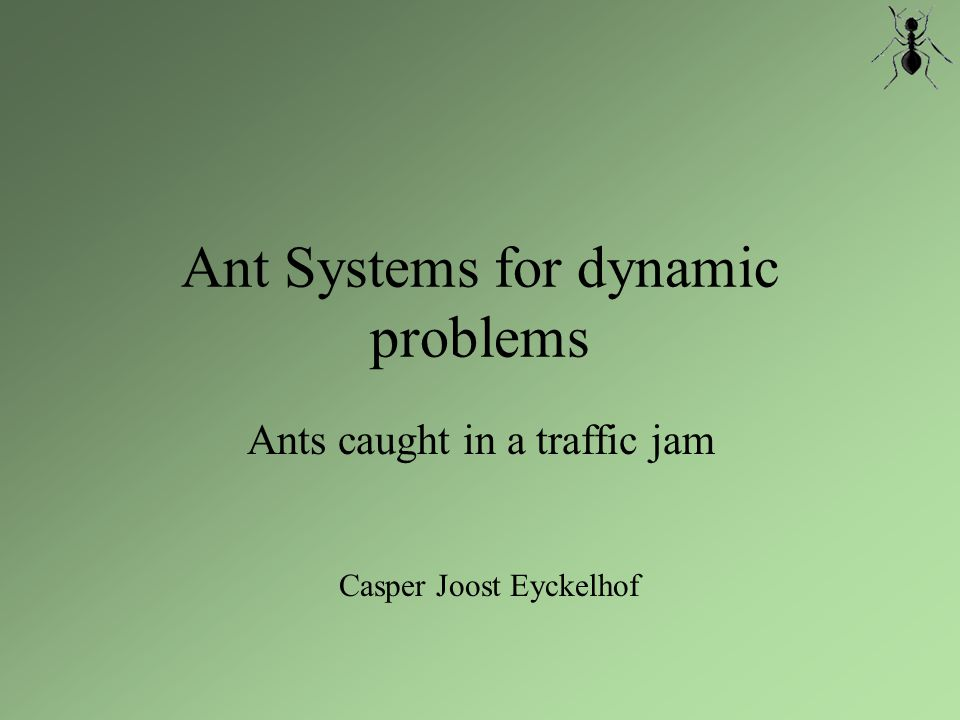 Ant Systems for dynamic problems...