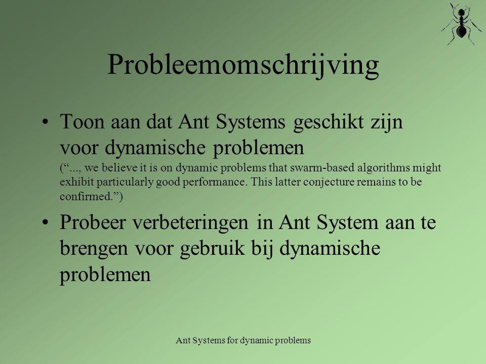Ant System: Algoritme (1) Initialisatie Herhaal: Laat elke mier een rondje lopen door steeds met een kans naar volgende stad te gaan.