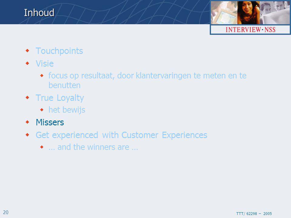 TTT/ 62298 – 2005 20Inhoud  Touchpoints  Visie  focus op resultaat, door klantervaringen te meten en te benutten  True Loyalty  het bewijs  Missers  Get experienced with Customer Experiences  … and the winners are …