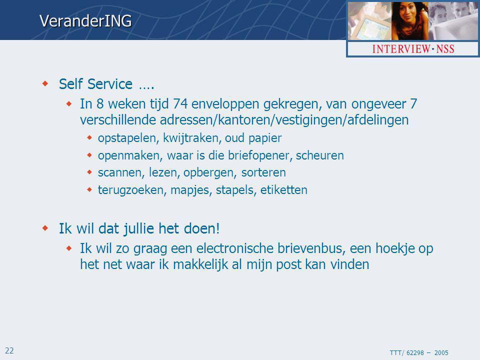 TTT/ 62298 – 2005 22VeranderING  Self Service ….  In 8 weken tijd 74 enveloppen gekregen, van ongeveer 7 verschillende adressen/kantoren/vestigingen