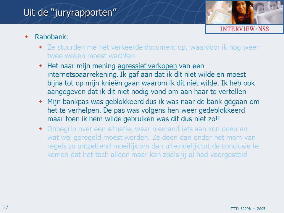 TTT/ 62298 – 2005 37  Rabobank:  Ze stuurden me het verkeerde document op, waardoor ik nog weer twee weken moest wachten  Het naar mijn mening agressief verkopen van een internetspaarrekening.
