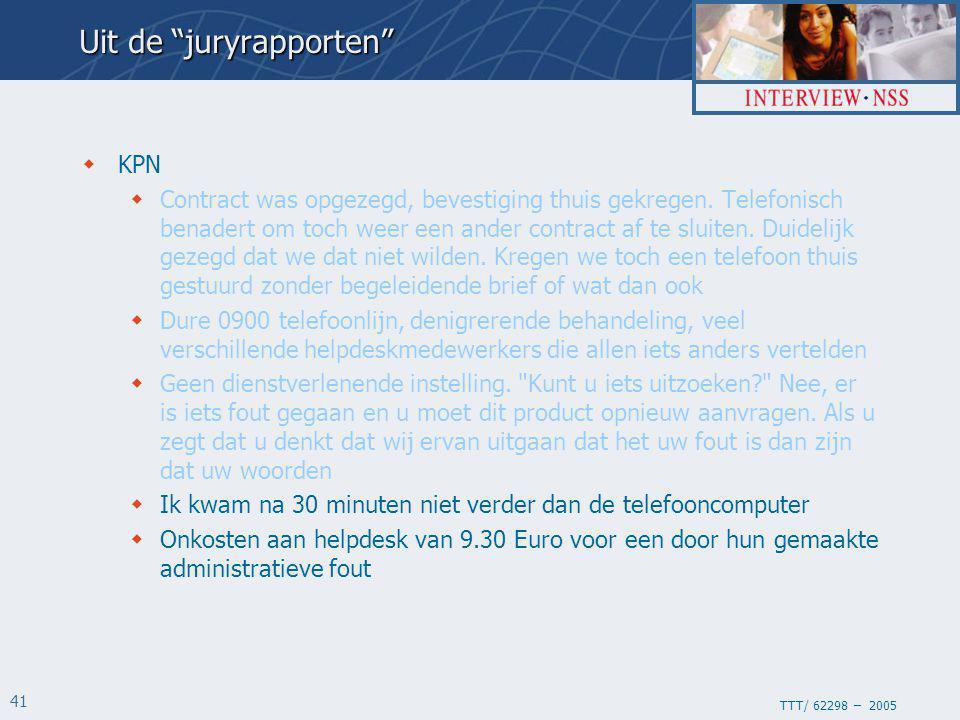 TTT/ 62298 – 2005 41  KPN  Contract was opgezegd, bevestiging thuis gekregen.