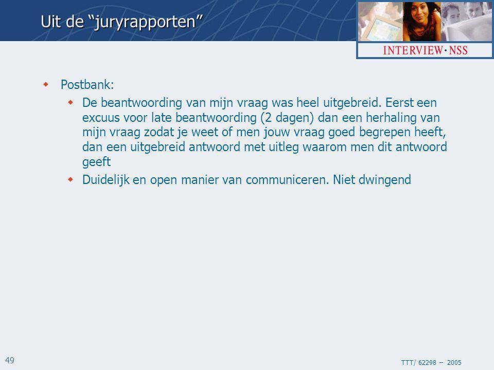 TTT/ 62298 – 2005 49 Uit de juryrapporten  Postbank:  De beantwoording van mijn vraag was heel uitgebreid.
